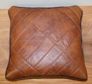 LOVELY TETRAD CORDOBA LEATHER AND FABRIC MEDIUM SCATTER CUSHIONS FEATHER FILLED