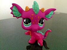 Littlest Pet Shop Dragon  # 2663 Pink Teal Glitter Sparkle Eyes USA Seller