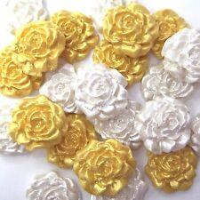 12 petites gold blanc perle Sucre Roses Comestibles sugarpaste Golden DECS gâteau de mariage