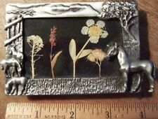 Horses, Tree, Field, Dried Flowers Picture Frame; Gray Metal, Velvet Back, Small