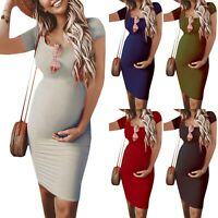 Pregnant Women Maternity Bodycon Dress Short Sleeve Summer Party Dresses Casual