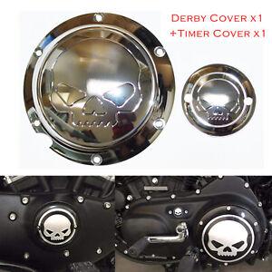 Skull Engine Derby Timer Cover For Harley Sportster XL 883 1200 72 48 Chrome