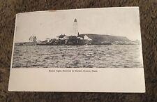 Vintage Postcard Unposted B&W Lighthouse Boston Light Entrance To Harbor MA