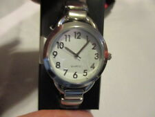 AVON  Pretty Classic WHITE Cuff Watch Leatherlike with Silvertone Case One Size