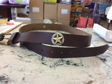 Men's Brown Genuine Leather Belt 40 with Gold USA/Texas Star Conchos