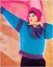 Ladies' Mohair Diagonal Stripes Tie Collar Sweater Vintage Knitting Pattern