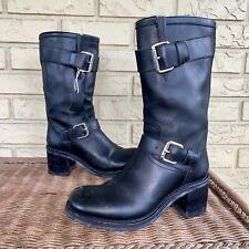 $795 Free Lance Paris Women's 40 US 9.5-10 Black Leather Biker Moto Buckle Boots