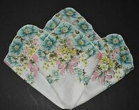 vintage handkerchief HANKY bouquet print SHABBY COTTAGE CHIC hand rolled DRAMA