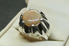 Natural Australian Fire Opal Mens Ring Sterling Silver 925 Handmade Opal Ring