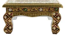 Indian Puja Chowki Round Furniture Table Hand Painted Footstool Wooden Tables