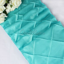 "1X Aqua Blue Taffeta Pintuck Table Runner Tablecloth Xmas Wedding Decor 12""x108"""