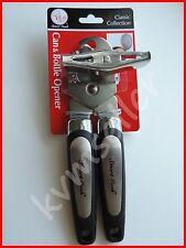Stainless Steel Can Opener & Bottle Opener Heavy Duty Black & Silver Handles