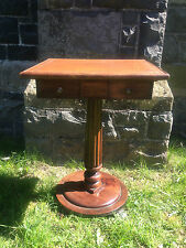 Antique Victorian Gothic Revival Small Leather Top Desk Hall Table Occasional