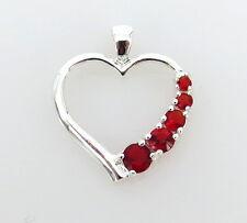 Beautiful Ruby CZ & Sterling Silver 925 Open Heart Shape Sliding Pendant