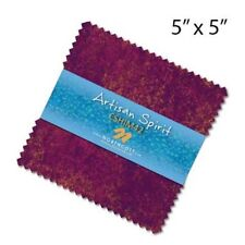 "42~5"" SQUARES~ARTISAN SPIRIT SHIMMER-HIBISCUS~""CHARM PACK""~NORTHCOTT FABRIC~PINK"