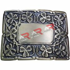 Deluxe Thistle Design Kilt Belt Buckle Antique Finish/Irish Shamrock Belt Buckle