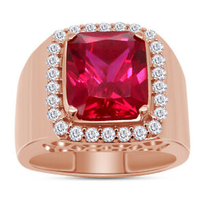 Emerald Cut Men's Ruby Rick Ross Pinky Ring 14k Rose Gold Over Sterling