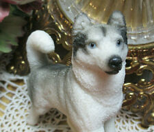 "Alaskan Huskie Dog Figurine Fur Look Textured Resin 4"" Blue Eyes White Grey Blk"
