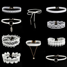 10pcs Punk White Flower Lace Velvet Choker Necklace Chain Collar Charm Jewelry