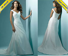 UK Stock New White Ivory Long Brida Party Evening Gown Prom Wedding Dress Sz6-18