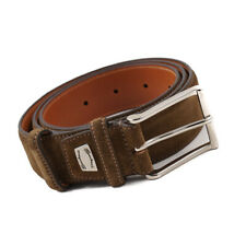 New $295 SANTONI Medium Brown Calf Suede Dress Belt 42 W (105cm)