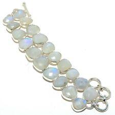 "Faceted Rainbow Moonstone Gemstone 925 Sterling Silver Bracelet 7-8"""
