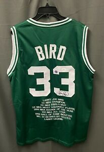 Larry Bird #33 Signed Celtics Stat Jersey Autographed Sz XL JSA WITNESSED COA