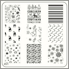 MoYou Square Image Plate 451 Xmas Style, Deer, Christmas Tree Stamping Template