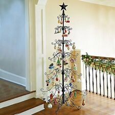 "36"" & 84"" Metal Scroll Christmas Ornament Display Trees in Black & Gold Colors"
