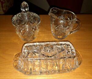 Glass Diamond Butter Dish Creamer Sugar Set