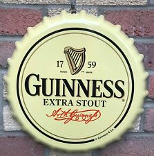 "Guinness Retro Bottle Cap Large Metal Sign 15"" (sg)"