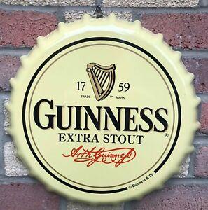 "Guinness Retro Bottle Cap Large Metal Sign 15"" (sg)"