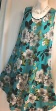 AQUA GREEN W/FLORAL ROSES PATTERN, WRINGLE FREE DRESS,COVER UP,HOUSE DRESS-L-#95