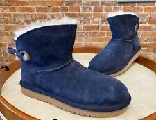Koolaburra By Ugg Blue Suede Remley Mini Boots New Sheepskin & Faux Fur