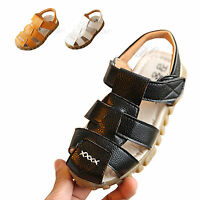 Cute Kids Baby Boys Comfy Beach Sandals Faux Leather Oxford Closed Toe Shoes New