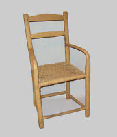 Antique Vtg Early 19th C 1830s Slat Back Youth Arm Chair Open Mortise Nice Paint