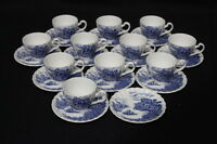 "Rare Set of 11 Cups & 12 Saucers ""HAPPY ENGLAND"" Demitasse Johnson Brothers"
