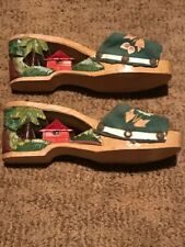 Vintage Collectible Hand Carved & Painted Small Pair of Decorative Shoes
