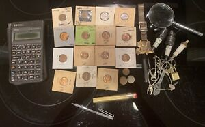 Vintage Daddys Junk Drawer Coins Key Chain Calculator Lot