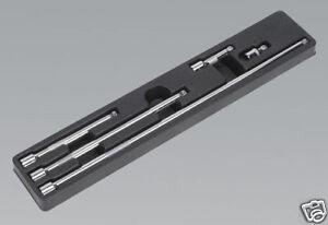 "Sale Sealey 5pce Wobble Extension Bar Set +Tray 3/8"" 380-450mm Long"