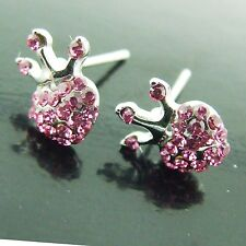 STUD EARRINGS REAL 18K WHITE G/F GOLD PINK CZ CROWN HEART YOUNG GIRLS DESIGN