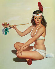 """Indian Maiden with Peace Pipe Pin Up 11 x 14""""  Photo Print"""