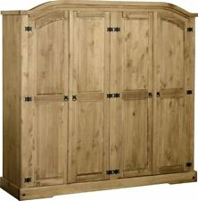 Rustic 4 Door Solid Pine Wardrobe Distressed Waxed Pine- Highest Quality on Ebay