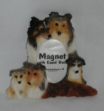 New – Resin Sheltie Dog Small Picture Frame Magnet w/Easel Back– 1.5�x 2� Photo