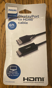 🌍 Philips DisplayPort to HDMI Cable, 6ft.Open Box ‼️ Free Shipping