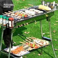 73CM Stainless Steel Folding Portable Charcoal Barbecue BBQ Grill Camp Picnic