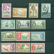 British Solomon Islands 1956 1960 Queen Elisabeth II QE2 13 stamps MLH * neuf