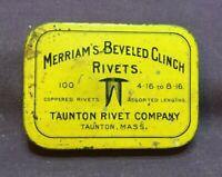 * Vintage Advertising Tin MERRIAM'S BEVELED CLINCH RIVETS TAUNTON MASSACHUSETTS