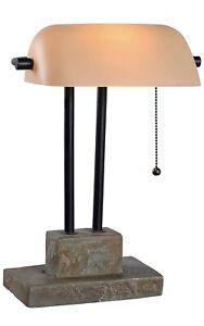 Kenroy Lighting 21041SL Greenville - One Light Banker Lamp  Natural Slate Accent