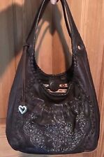 BRIGHTON *DARA* Beaded Sequined Victorian Romantic Med. Brn Leather Shoulder Bag